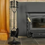 Uniflame 5-Piece Fireset with Ball Handles, Black