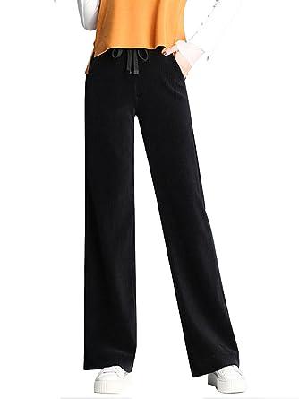 cbfdc993818 Women's Drawstring Elastic Waist Straight Wide Leg Fall/Winter Casual Corduroy  Pants Black Tag L