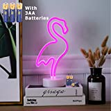 HONGM Flamingo Shape LED Neon Night Light with Base Pink Decorative Light Battery Powered/USB Table Lamp for Kids Room Holiday Party Decorative