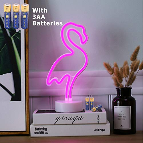 HONGM Flamingo Shape LED Neon Night Light with Base Pink Decorative Light Battery Powered/USB Table Lamp for Kids Room Holiday Party Decorative by HONGM