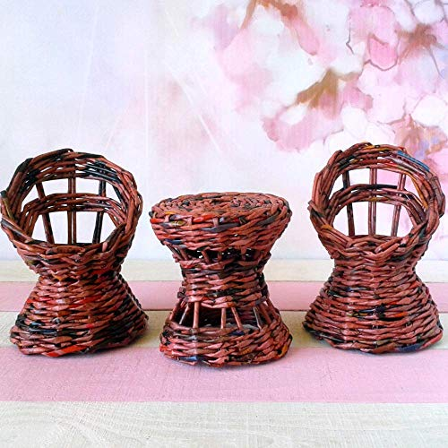 - 1:6 scale doll furniture set. Handmade wicker, rattan look chairs and table for 1:6 scale / 12-inch doll.