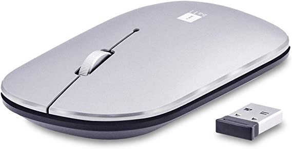 iBall G1000 Metal Wireless Mouse with USB Receiver  Silver  Mice