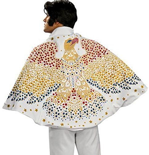 [White Golden Star Elvis Eagle Cape Licensed Costume Adult Men Rock and Roll Aloha] (Elvis Costumes Cape)