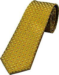 Zarrano Skinny Tie 100% Silk Woven Yellow/Orange Geometric Tie