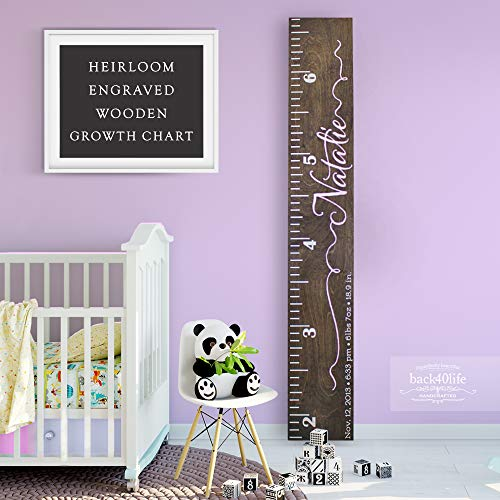 - Back40Life | Heirloom Engraved Series - (The Natalie) wooden growth chart height ruler