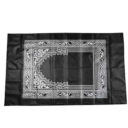 YOEDAF Portable Muslim Compass Prayer Rug Waterproof Prayer Rug Muslim Prayer Mat With Qibla Kaaba Compass (Black)