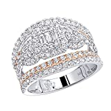 Unique 14K Gold Two Tone Diamond Band Engagement Ring 1.8ctw G-H color (White-Rose, Size 7.5)