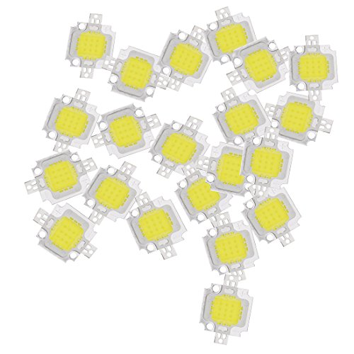 SODIAL(R) 20PCS 10W LED Pure White High Power 1100LM LED Lamp SMD Chip light Bulb DC 9-12V ()