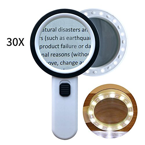 30x Magnifying Glass with Light,BJYHIYH Double Glass Lens Jumbo Magnifier Handheld Lighted Magnifying Glasses by BJYHIYH