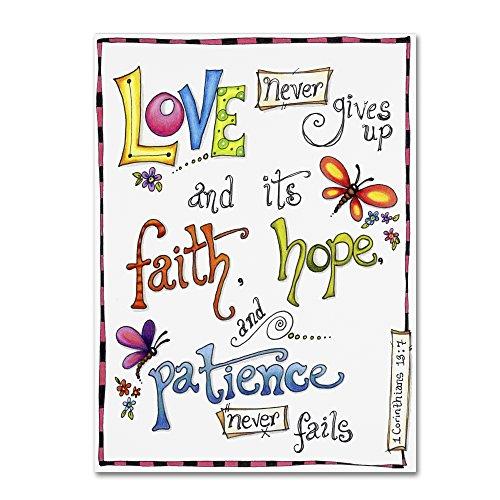 Trademark Fine Art Words of Love - Never Fails by Jennifer Nilsson, 35x47-Inch Canvas Wall Art -