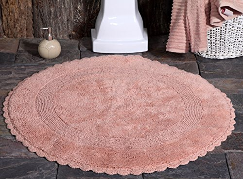 - Saffron Fabs Bath Rug Cotton 36 Inch Round, Reversible - Different Pattern On Both Sides, Coral, Hand Knitted Crochet Lace Border, Machine Washable