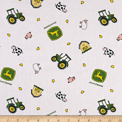 Springs Creative Products John Deere Nursery Animal Toss White Fabric by The -