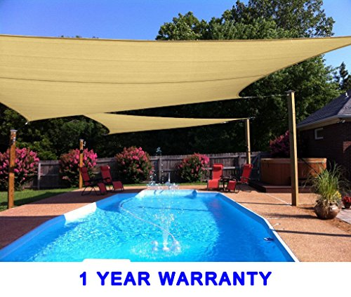 Quictent 185G HDPE 98% Uv-blocked 26 x 20 ft Rectangle Sun Sail Shade Canopy Top Outdoor Cover Patio Garden – Sand Review