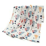 Premium Ultra Soft-Breathable Baby Muslin Swaddle Blanket with Two Pram Clips Set, 100% Cotton, Double Layered, Extra Large Size 47'x47', Unisex for Boys and Girls, Fox Print