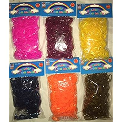 SET OF 3600 PCS METALLIC/PEARL COLORS LOOM RUBBER BANDS 6 BAGS DIY, Rainbow Colors, Metallic Brown, Blue(Navy), Pink, Yellow, Orange & Red(Cherry): Toys & Games