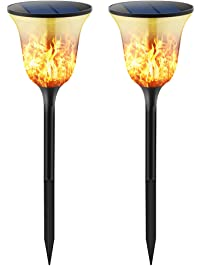tomcare solar lights solar path torches lights 96 led waterproof flickering flames torches lights outdoor solar
