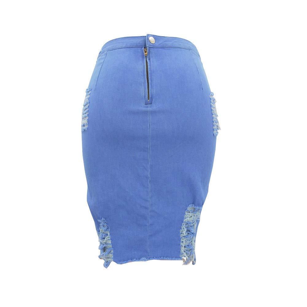 iHAZA Donne Donna Alta Vita Strappato Denim Afflitto Bodycon Matita Mini Gonna Jeans