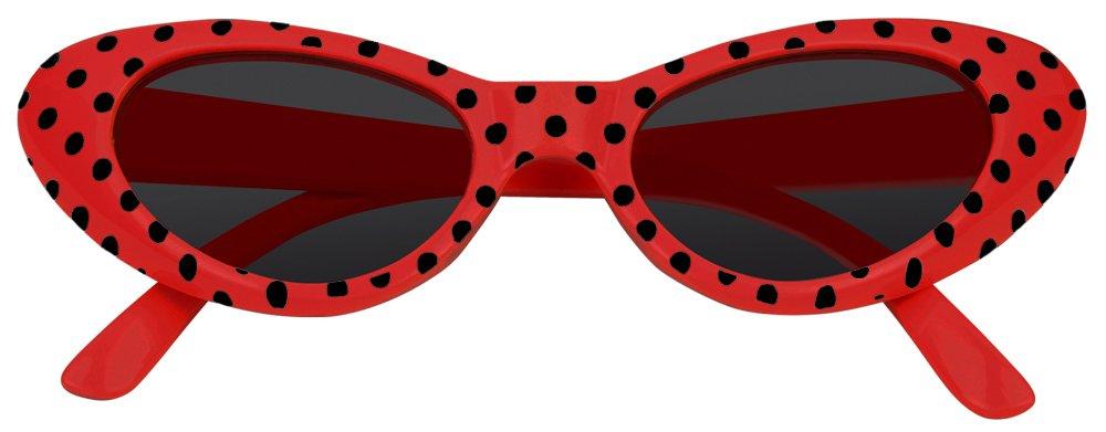 Das Kost/ümland Anteojos de Ojo de Gato Arenosos con Puntos Rojo Negro Excelentes anteojos al Estilo de los a/ños 50 y 60