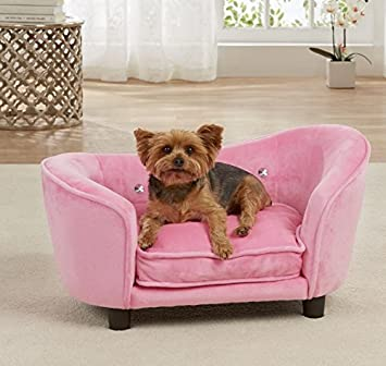 Dog Couch Bed Luxury Elevated Pet Sofa   Deluxe Crystal Tufted Therapeutic  Comfort In Pink