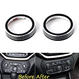 UltaPlay Interior Auto CD Volume Adjust Switch Button Knob Cover Trim Ring For Jeep Grand Cherokee 2014 2015 2016 Car Styling Accessories [Black]