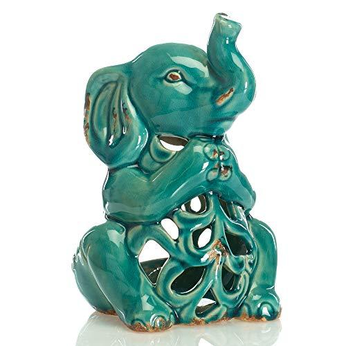 Drew Derose Glossy Blue Whimsical Elephant 4 x 4 Ceramic Votive Candle Holder