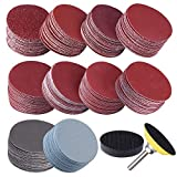 SIQUK 200 Pcs 2 inch Sanding Discs with 1 pc 1/4 inch Shank Backing Pad and 1 pc Soft Foam Buffering Pad 80 180 240 320 400 600 800 1000 2000 3000 Grit