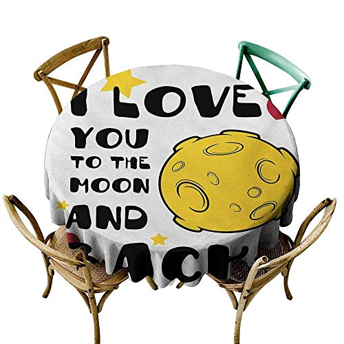Jbgzzm Dust-Proof Round Tablecloth Love You Moon Surface Romance Big Love Galactic Partners Friends Valentines Print Easy to Clean D63 Yellow Black Red