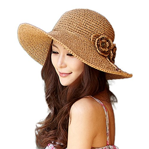 Siggi Womens Girls Floppy Straw Breathable Summer Outdoor Sun Hats Beach Accessories Beige One Size67075_Beige