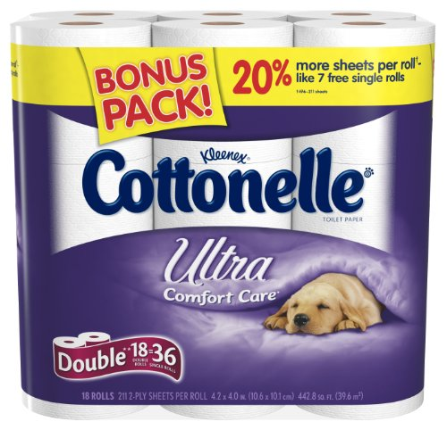 Kleenex Cottonelle Ultra Double Roll, (2x Regular), 2 Ply, White, 18 Pack (Pack of 2) Kleenex Ultra Toilet Roll