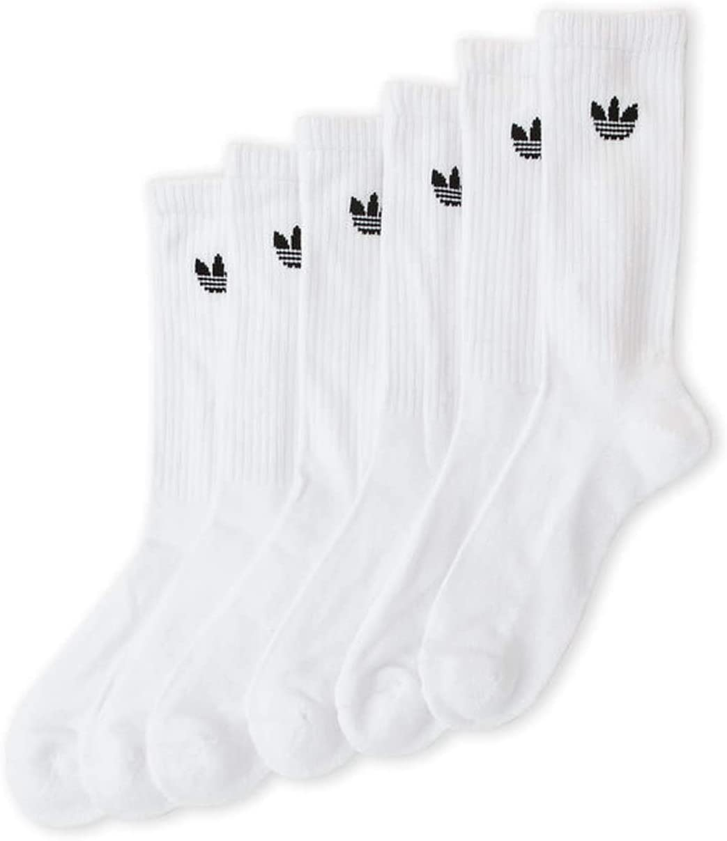 adidas 6 Pair Mens Cushioned Crew Socks (Large, White)
