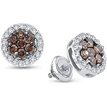 10K White Gold Round Cut Chocolate Brown and White Diamond - Flower Shape Halo Invisible & Channel Set Studs Earrings with Secure Screw Back Closure - (1/4 cttw.)