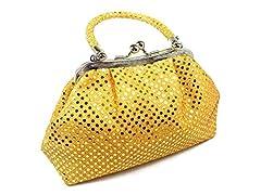 Beautiful metallic handbag. Light weight fabric evening bag.