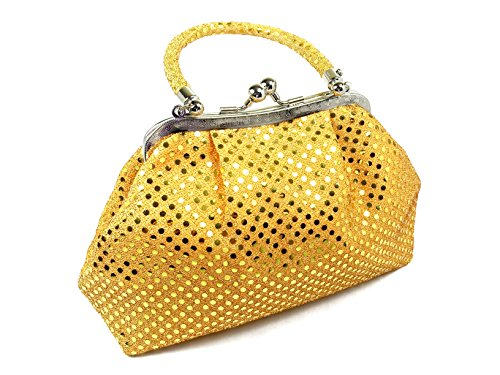 Clutch Polo - Handbag - Eve Metallic Orange Dot by WiseGloves, tote evening bag purse clutch