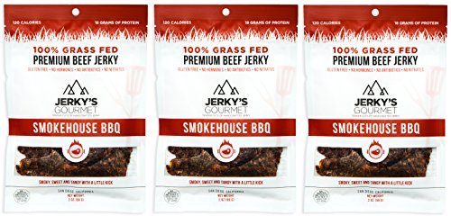 - 100% Grass-Fed Beef Jerky - (3 Pack) SmokeHouse BBQ Keto Friendly Protein Snacks. Gluten-Free, No Nitrates, Artificial Preservatives, Antibiotics or Hormones. By Jerky's Gourmet