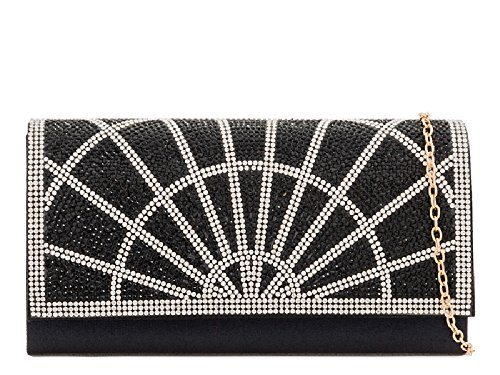 Bag Black Purse Satin Ladies KY2207 Handbag Women's Envelope Diamante Designer Clutch Evening Ixw7P
