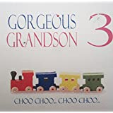 white cotton cards Code N215-GS3 Train Set Gorgeous Grandson 3 Choo..Choo..Choo..Choo Handmade 1st Birthday Card by WHITE COTTON CARDS
