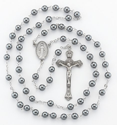 Communion Pewter Rosary Box (BERTOF BT-PR-104 Pewter Rosary Hematite Beads Beads WITH 100% Pewter Center and Crucifix Hand Made USA Copyrighted Paul Herbert Blessing PEWTARA Series)