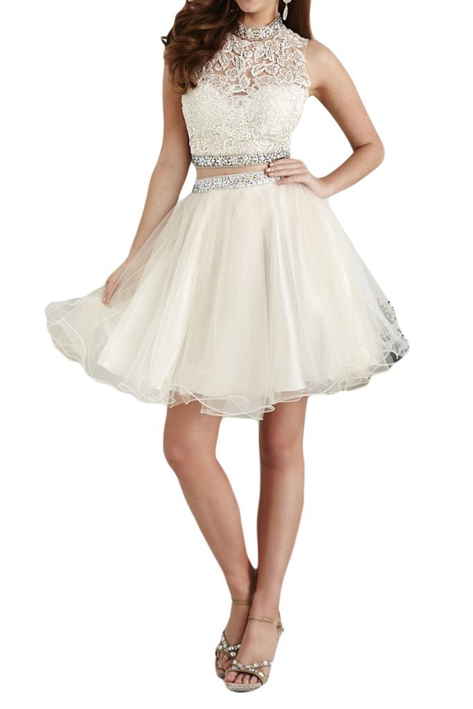 Charm Bridal 2 Piece Beaded Short Junior Girl Summer Homecoming Cocktail Dresses -10-White