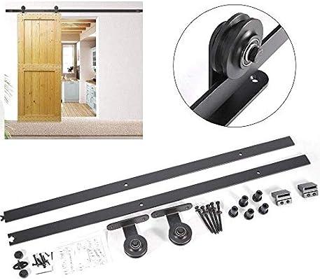 Sistema de puerta corredera, herraje de madera para puertas correderas, carril 200 cm, puerta hasta 150 kg: Amazon.es: Bricolaje y herramientas