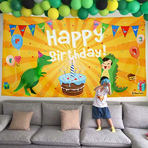 Beestech Dinosaur Themed Birthday Party Supplies Supply Favors for Boys Girls Toddlers Baby, Dinosaur Birthday Party Banner Decoration Backdrop Background -
