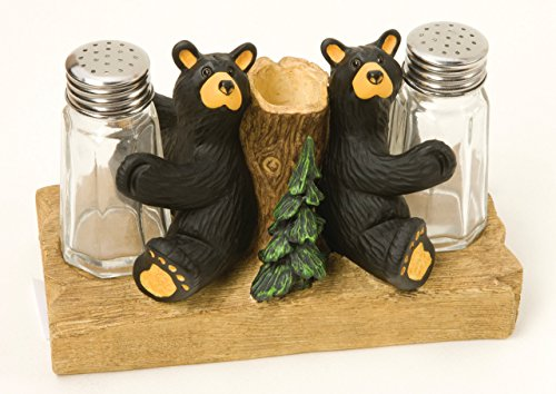 (Demdaco 30150059 Big Sky Carvers Bear Salt & Pepper with Toothpick Holder, Multicolored)