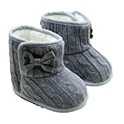 Usstore 1Pair Infant Baby Toddler Bowknot Winter Warm Boots Walker Shoes (0- 6months, Gray)