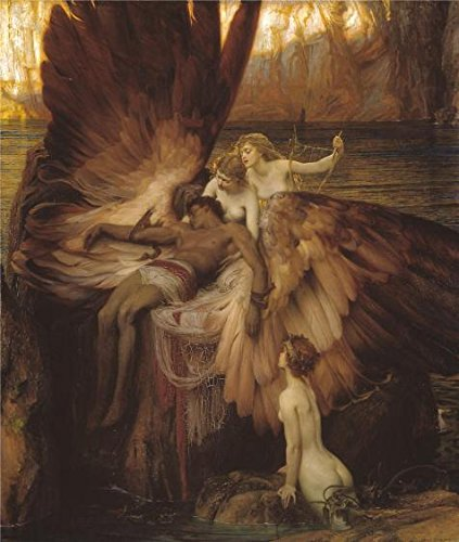 Oil painting ` Herbert Draper–The Lament for Icarus、1898年`印刷on Perfect effectキャンバス、12x 14インチ/ 30x 36cm、ホームデコレーションとギフト、最高の子供部屋装飾はこの高解像度アート装飾プリントキャンバスの商品画像