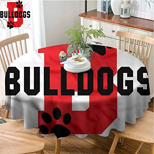 ScottDecor Restaurant Round Tablecloth English Bulldog,Paw Print Motif Dinning Tabletop Decoration Diameter 50
