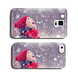 happy girl winter snow runs cell phone cover case iPhone6