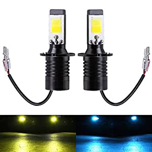 H3 Fog Light Bulb LED Amber Yellow 3000K Ice Blue 8000K Dual Color for Trucks Cars Lamps DRL Daytime Running Lights Kit Replacement Bulbs 12V 30W 2800LM Super Bright COB Chips 1 Year Warranty【1797】