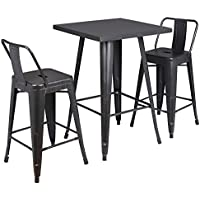 AC Pacific 3 Piece Dawson Collection Contemporary Style Metal Dining Table Set with Chairs, Distressed Black