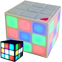 New Wayzon Magic Rubiks Cube Portable LED RGB Light Deep Bass Bluetooth 4.0 Wireless Speakers with Build in Microphone Hands-free Function TF Card Mode(White)