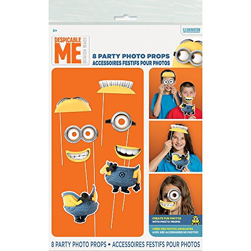 [Despicable Me Minions Photo Booth Props, 8pc] (L Themed Costumes)