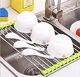 Multifunction Stainless Steel Frame DrainSink Rack The Hot Pad Kitchen Sink shelf Draining Folding Sink Shelf Dish Rack Kangsanli (S Green)